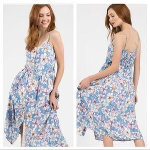 Sky Blue Floral Button Up tank top midi Dress